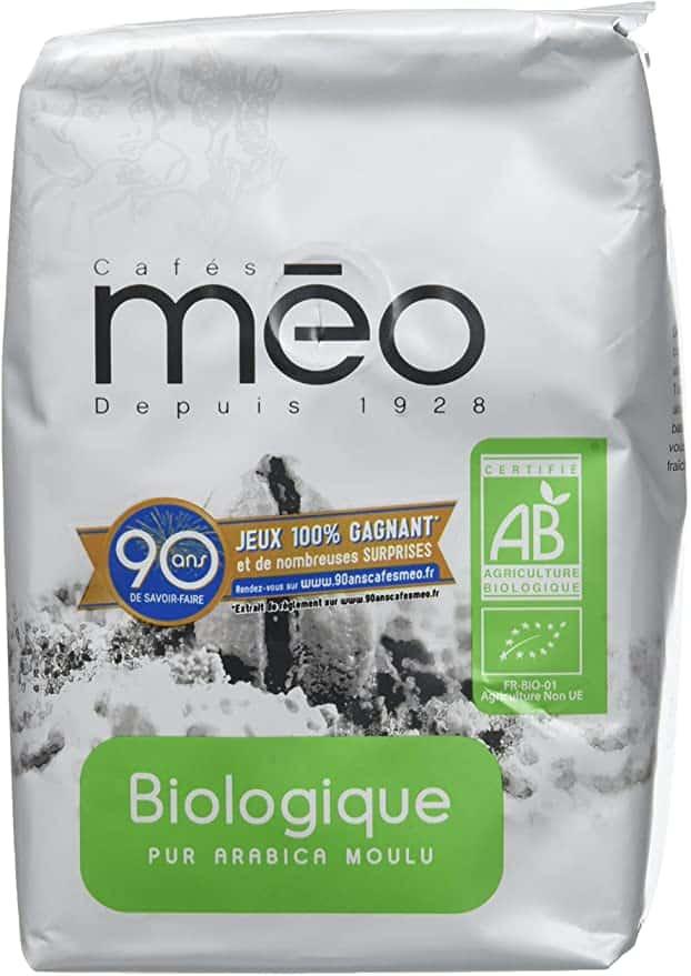 Café bio et moulu de la marque Méo
