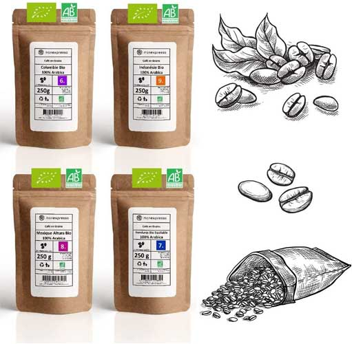 Coffret dégustation 4 origines café de Monexpresso